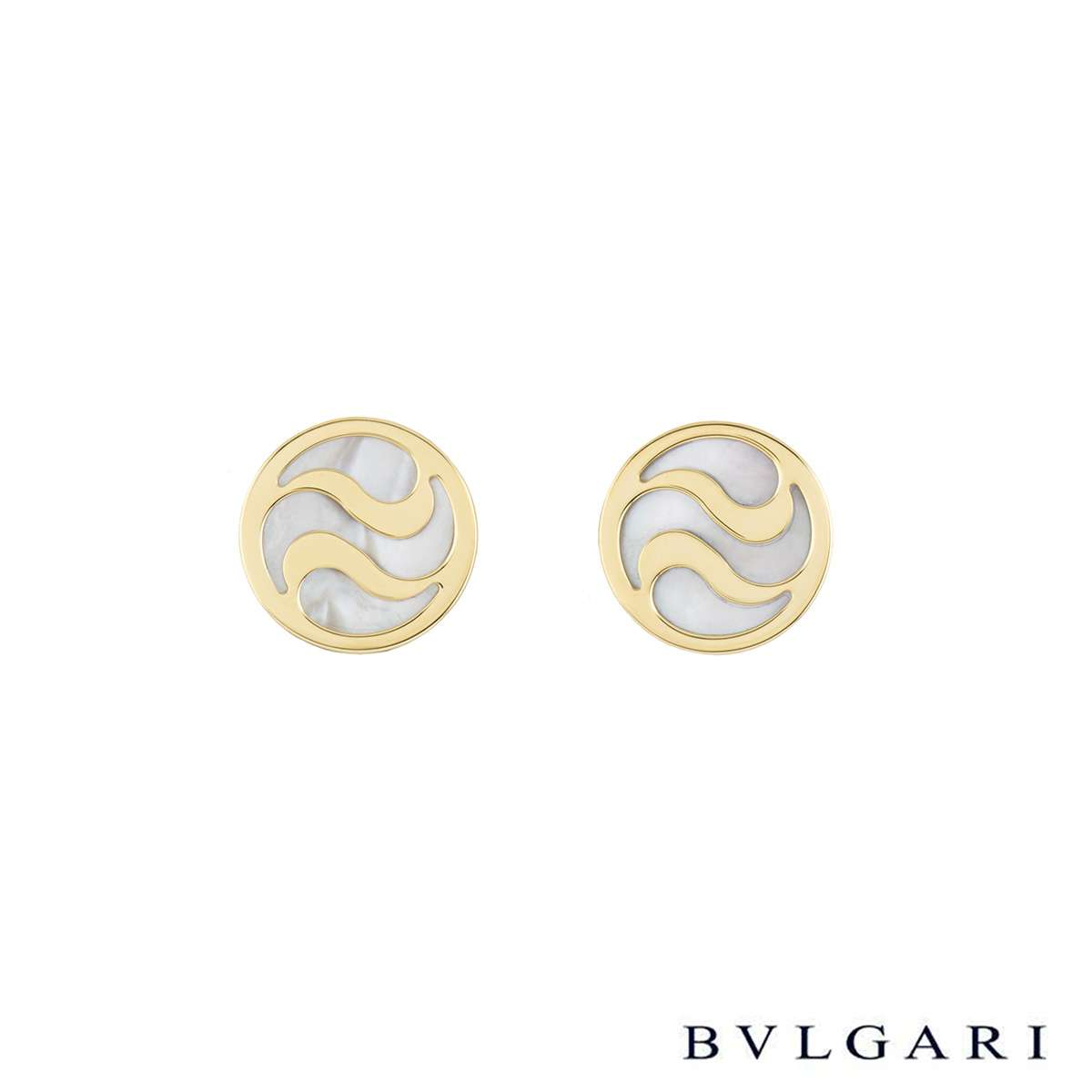 Bvlgari Yellow Gold and Mother of Pearl Optical Earrings